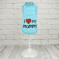 "Майка ""I Love my mommy"", голубая"