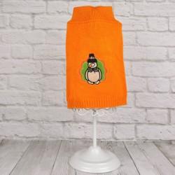 """Вязанный свитер """"Снеговик"""", оранжевый"""